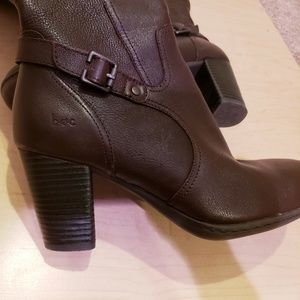 b.o.c. Brown Leather Tall Boots Size 8